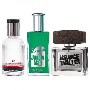 Foto mit den LR Herren Parfum Produkten Just Sport, Jungle Man sowie Bruce Willis
